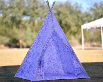 Ready To Ship Teepee Set  Lilac Cotton Kids Teepee, Kids Play Tent, Childrens Play House, Tipi,Kids Room Decor
