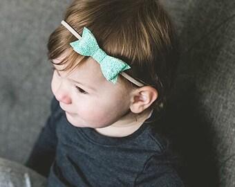 Glitter Bow - Nylon Headband - Bow clip - Glitter bow headband - Baby headband - Newborn headband - Toddler clip - Baby nylon headband