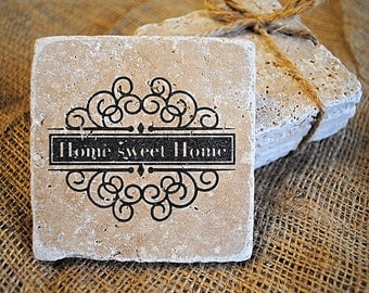 Home Sweet Home Decor, Home Sweet Home Coaster Set, Set of 4 Coasters, Wholesale Home Decor, Valentines Day Gift, Housewarming Gift