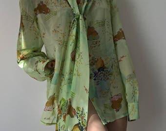 Vintage 70s sheer Japanese print tie neck blouse size 18