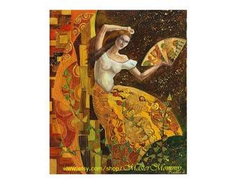 Dance woman Contemporary art Bedroom Livingroom art Acrylic Painting Original painting Yellow brown Wall art Original Yellow Painting
