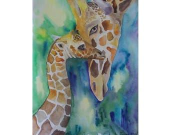 Giraffe Nursery wall Art painting the nursery watercolour Girls Room Nursery wall decor  boy girl room  Baby Art Kids Room Game room art
