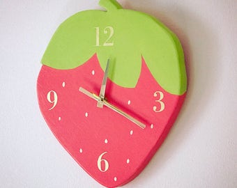 Wall clock / childrens clock / wall hanging / strawberry / nursery / childrens room /