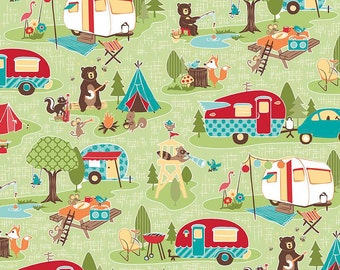 Road Trip Main Green - Riley Blake Designs - Camper Bears Camping Vacation - Quilting Cotton Fabric - by the yard fat quarter half