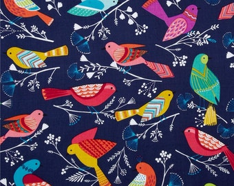 Flock Birds Navy by Michael Miller - Blue - Quilting Cotton Fabric - choose your cut