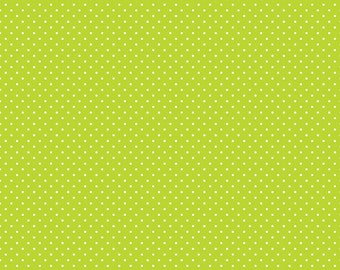 White on Lime Swiss Dots by Riley Blake Designs - Green Polka Dot - Quilting Cotton Fabric - by the yard fat quarter half
