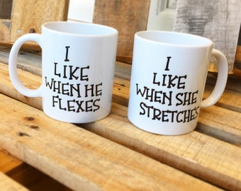 His and Hers...His and Hers Mugs...Couples Who Workout...Fit Couples...Funny Coffee Mugs...Funny Gifts...Mug...Gifts...His and Hers Gift