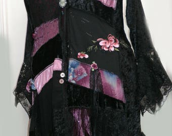 """Dusty Rose Pink & Black Velvet Bohemian Gypsy Shabby Chic Jacket ~ One Off Original Patchwork Coat - Size 20 Bust 46"""" made by emerald-fairy"""