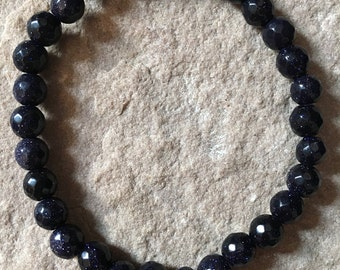 Blue goldstone 6mm faceted semi precious gemstone bracelet