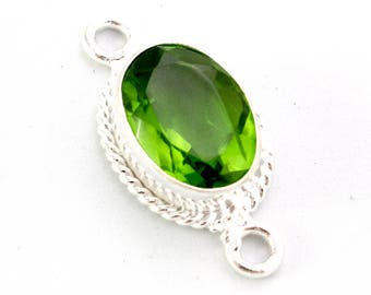 Green Chrome Diopside And Sterling Silver Connector. Green Diopside Connector. Green Teardrop Connector. Green Stone Connector. 22mm 220