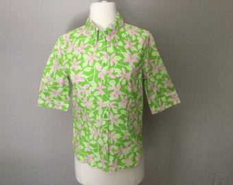 LILLY PULITZER BLOUSE Lime Greens Pinks Floral Pattern Size 2 Button Down X Small
