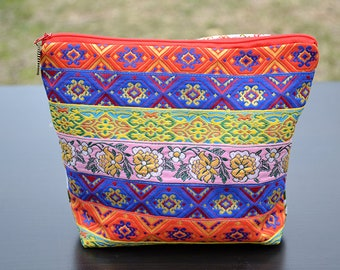 Cotton cosmetic bag, Boho cosmetic bag, Makeup bag, Hand made cosmetic bag, Zipper cosmetic bag, Zipper pouch, Zipper bag, Cosmetic pouch.