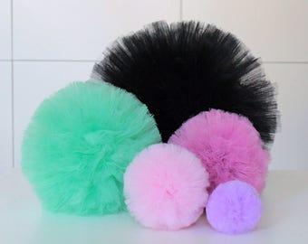 Tulle Pom Pom, Party Pom Pom Decor, Hanging Pom Pom Decor, Colorful Nursery Decor, Pom Pom Nursery Decor, Choose Size, Choose Colors,