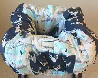 Woodland Pines & Navy Stag Shopping Cart Covers, Restaurant High Chair Cover, Teepees and Deer Warehouse Shopping Cart Covers, Clean Carts