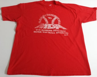 Vintage 50/50 Hanes 1991 MDA Super Softball Weeend graphic  tshirt size XL