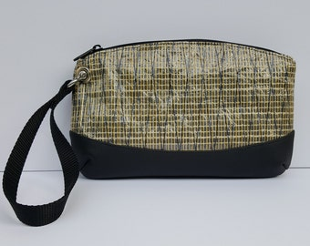 Sailcloth Wristlet - Kevlar Sailcloth Bag - Gold Anchor Lining - Recycled Sail Bag