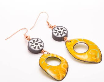 Summer Dangle Earrings, Boho Enamel Earrings, Playful Earrings, Long Enamel Copper Earrings, Clay Bead & Orange Enamel Dangles, Gift for Her