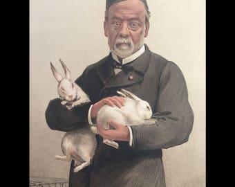 Original 1887 Vanity Fair Print ~ Doctors and Scientists ~ LOUIS PASTEUR with Rabbits
