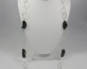 Black Onyx Druzy Sterling Necklace 30 inches