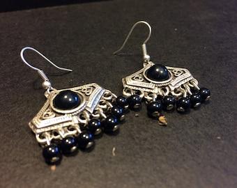 Ferize black agate earrings, Boho chic silver Earrings, aTribal Earrings Gypsy Jewelry Earrings Bohemian Earrings Statement earrings