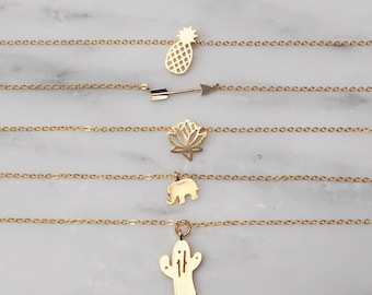 Gold Pendant Necklace / Gold Layering Necklace / Gold Cactus Necklace / Gold Pineapple Necklace / Gold Lotus Necklace