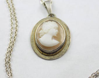Lovely Vintage style bust portrait pendant and necklace- sterling silver