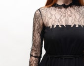1970s does 1950s Illusion A-Line Femme Fatale Dress with Pockets, Floral Lace, Goth Chic - Mollie Parnis Boutique, Extra-Small Small
