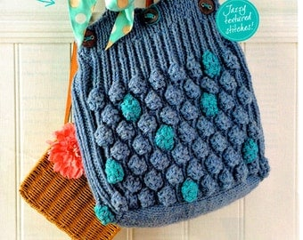 Original Ladies Womens Beach Bag Knitting Pattern Summer EASY Oversized Giant Boho Bobble Tote Hand Bag Shopper City Chic Retro Vintage