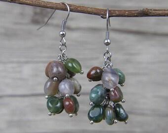 Gemstone Earrings Indian Agate beads Earrings Dangle Earrings Agate beads Earrings Natural Stone Bead Earrings BOHO Drop Earrings ED-034