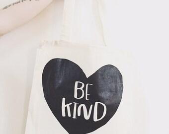 Be kind- screen printed - tote bag, market bag
