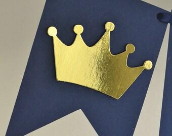 1st Birthday Crown Banner - First Birthday Decor Crown - 1st Birthday Party Decor Crown - Crow Party Decoration - 1st Birthday Banner Crown