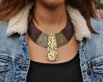 Boho Necklace, Bib Necklace, Brass Necklace, Boho Bib Necklace Boho Brass Necklace Bohemian Necklace Unique Necklace, One of a Kind Necklace