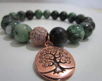 Ruby in zoisite, bracelet Ruby zoisite, beaded bracelet with stones, hanging tree of life, gift for woman, bracelets, jewelry, bracelets