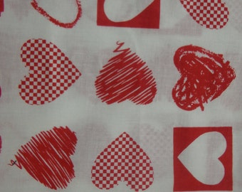 Red and White Hearts Cotton Fabric