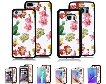Cover Case for Apple iPhone 7 7 Plus 6 6S Plus Samsung Galaxy S7 Edge S6 Plus Note 5 8 9 10 att sprint verizon cacti flowers watercolor
