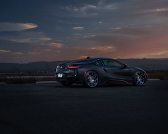 BMW i8 Rear Side View | automotive photography | automotive prints | car photography | car prints | European Car | 7 size choices
