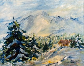 """Mountain cabin original painting, original french art, mountains, firs and cabin under the snow, original painting 9,4"""" x 11,8"""""""