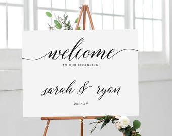 Calligraphy Welcome Sign, Wedding Welcome Sign, Welcome Wedding Sign, Welcome to Our Beginning Welcome Wedding Poster, Elegant, Large 02
