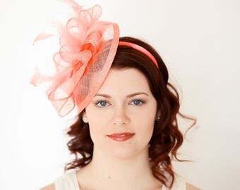 Coral Pink Fascinator, Tea Party Hat, Church Hat, Derby Hat, Fancy Hat, Pink Hat, Tea Party Hat, wedding hat, Coral Facinator, Coral Hat