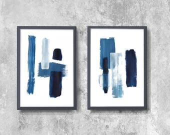 Scandinavian abstract, Printable Art, Art Poster, modern abstract, Industrial Decor, blue , white , navy blue, large print, Abstrac Set