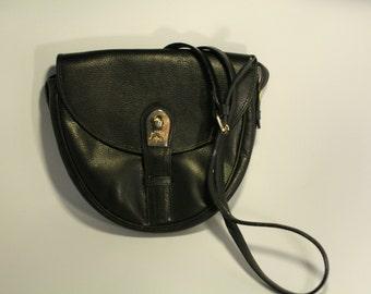 Lancel bag strap in black leather