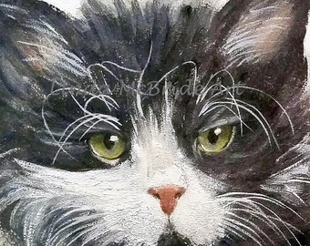 Black and White Cat 3x3 gift enclosure card from my original oil painting with envelope.