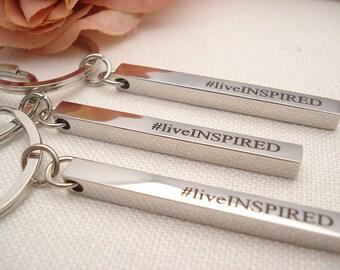 Personalized Key chain...Stainless steel bar, custom engraved Key ring, Best friend, Groomsmen gift, Bridesmaid gift