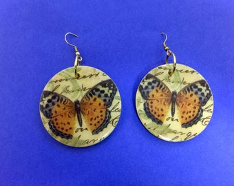 Butterfly decoupage earrings butterflies nature