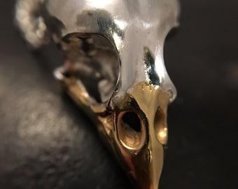 Finch silver bird skull pendant, 24ct yellow gold beak