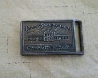 Vintage Prison Brass Belt Buckle Colorado State Penitentiary Canon City