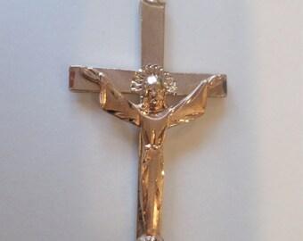 14K Stamped, Rose Gold Filled Cross Pendant.