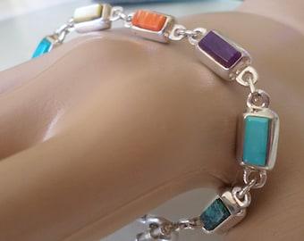 Sterling Silver Multiple Gemstones Link Bracelet.
