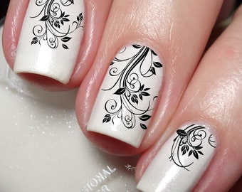 French Flower Nail Art Sticker Water Transfer Decal 24