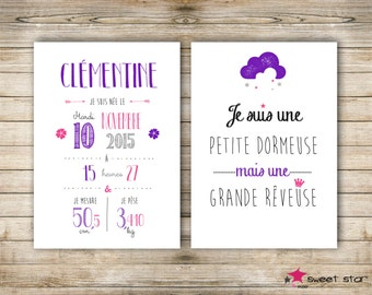Set of 2 custom poster - girl - A4 - personalised birth gift